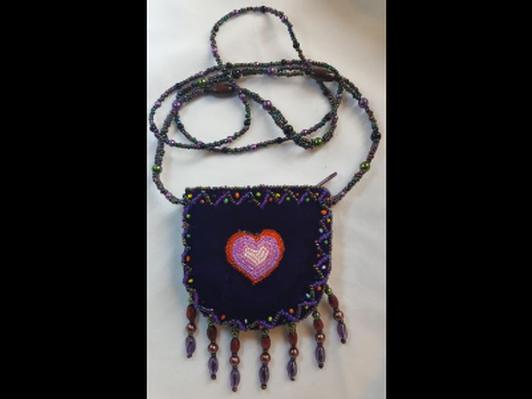 Velvet Bead Pouch Heart Purple
