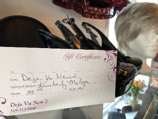 Deja vu New 2 $100 Gift Certificate