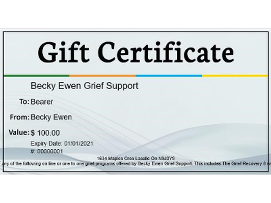 $100 certificate for Grief Guidance with Becky Ewen