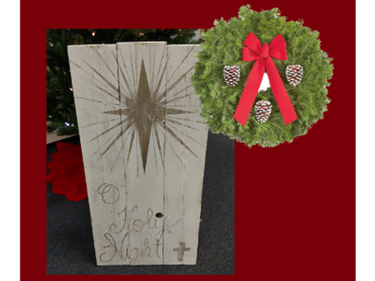 "Christmas sign ""O Holy Night"" w/ Wreath"