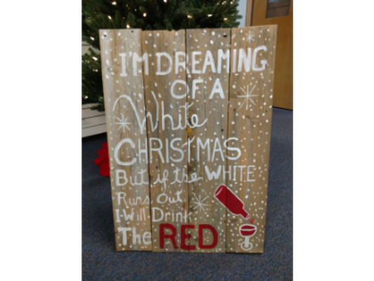 """Christmas sign """"Wine"""" combined with bottles of wine"""