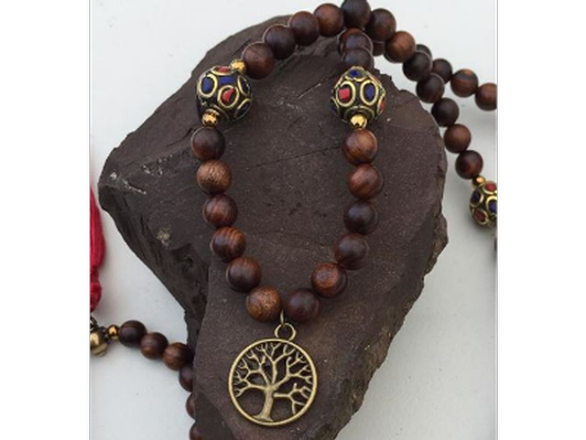Tree Tibetan Mala necklace with Rosewood and Hematite