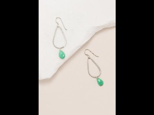 Green/Chrysoprase Teardrop Earrings in Silver