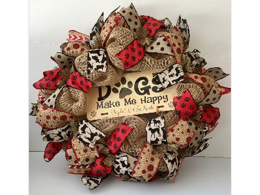 Dogs Make Me Happy Red, Black, and Brown Burlap Wreath