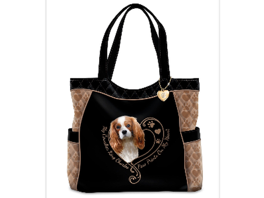 """""""Cavalier Paw Prints On My Heart"""" Quilted Tote Bag"""