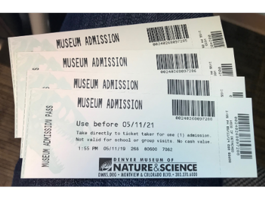 4 tickets to the Denver Museum of Nature & Science