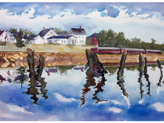 Day Train at Wiscasset Station by Jean Kigel