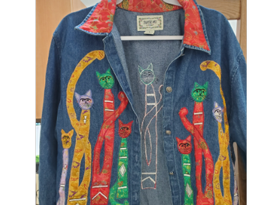 Vintage Cat Denim Jacket - Size Large