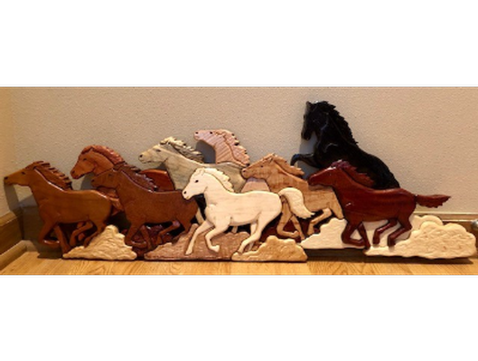 Handcrafted Wooden Horse Wall Decor