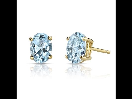 14K Gold 4 Carat Aquamarine Earrings