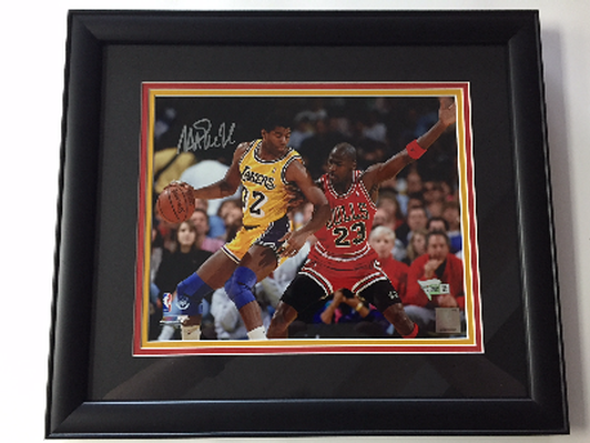 Autographed Magic Johnson Framed Photo with Michael Jordan