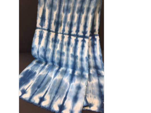 Hemp-Silk Shibori Indigo Scarf by Rebecca Stauffer