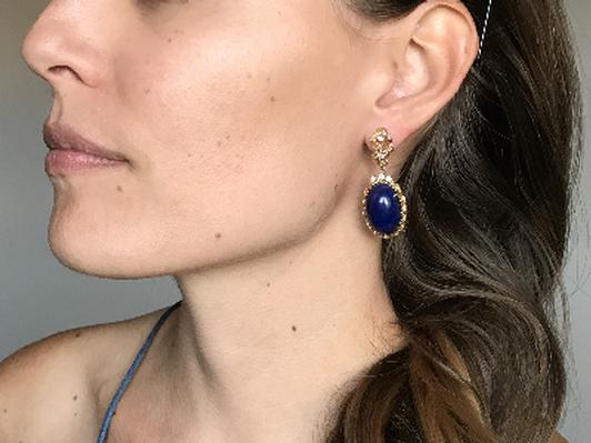 Kazanjian Diamond, gold, and lapis lazuli earrings