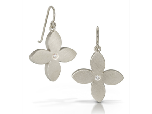 Marquis Flower Earrings - diamond center, sterling silver finish