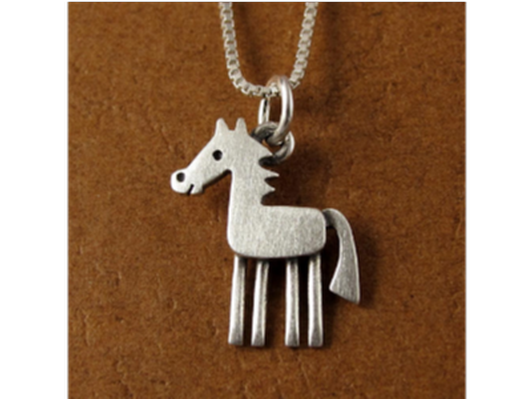 Stickman Horse Necklace - Sterling