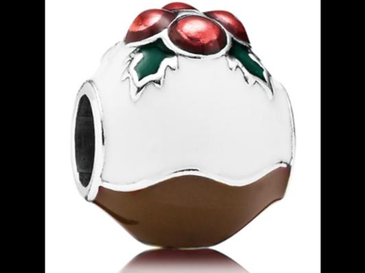 """Pandora """"Christmas Pudding' Enameled Charm RETIRED"""