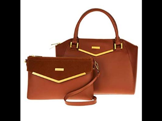 JOY & IMAN Couture Leather Satchel & Crossbody with Velvet Detail