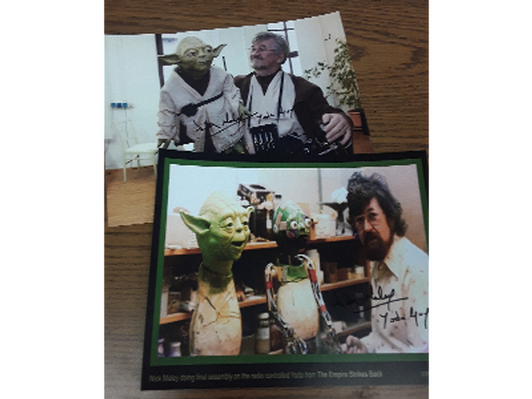 Autographed pictures Nick Maley and YODA