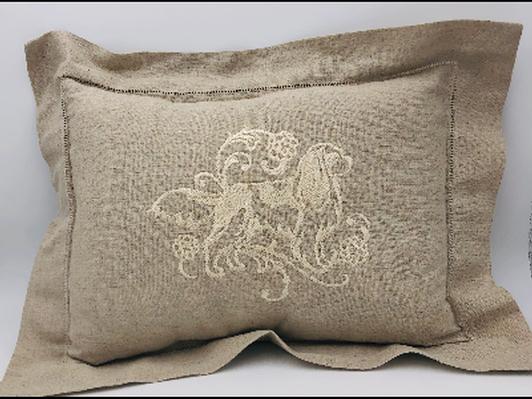 Cavalier Embroidered Linen Pillow