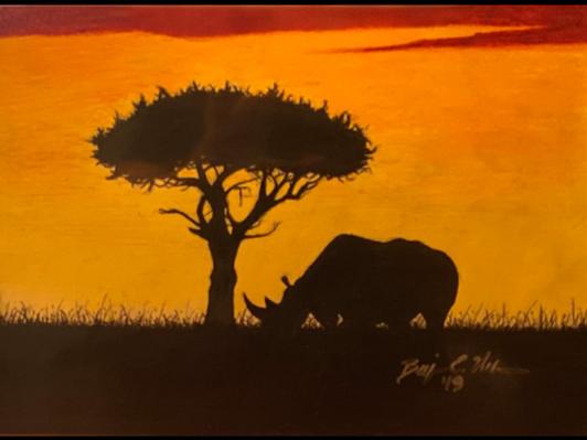 Original Rhino Colored Pencil Art