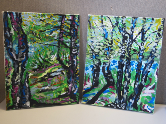 "Bruce Mayo original 2 piece canvas art set ""Walk in the Woods"""