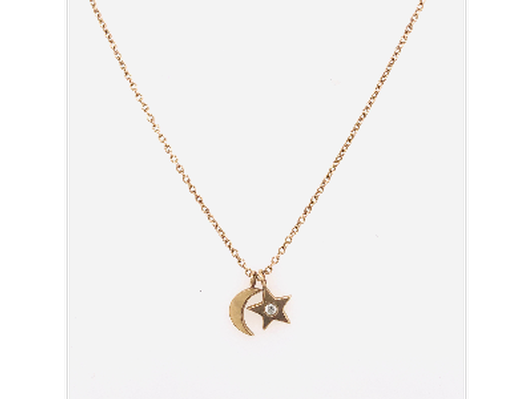 14k Gold Star and Moon Diamond Necklace