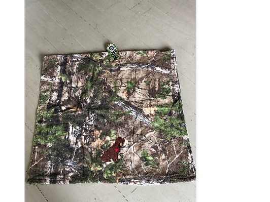 Camo Beach Towel, Embroidered with Boykin sitting down