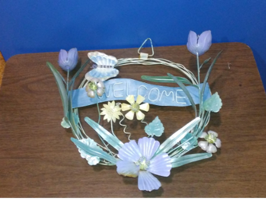 Floral welcome wreath	metal 3-D