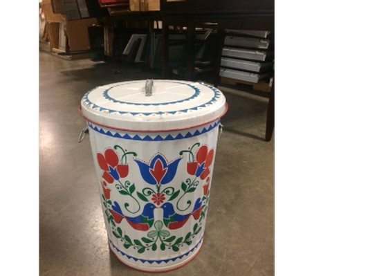 Painted Design Trash Can