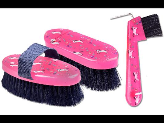 Pink Unicorn Horse Brush and Hoofpick from Calabasas Saddlery