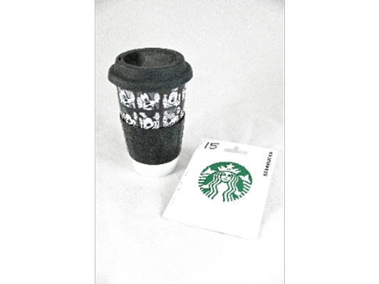 Travel mug (black) plus $15 Starbucks card