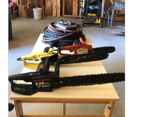Chainsaws and Air Pressure Tools Lot Collection
