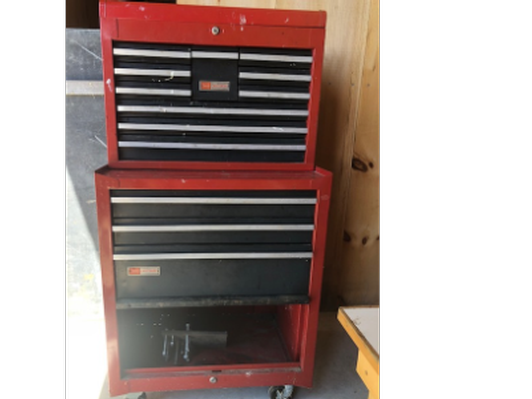 Craftsman Toolbox and Cabinet full of tools