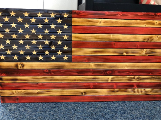 Burnt Wood American Flag
