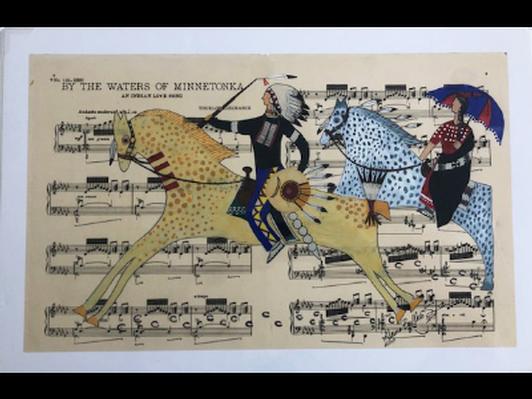 """""""He Loaned Her His War Blanket"""" Giclee Print/Ledger Art by Alaina Buffalo Spirit."""