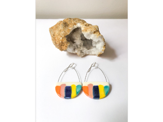Halfmoon Earrings with Stripes by Katie Maciocha