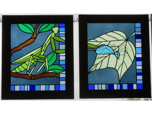 Praying Mantis and Spider Stained Glass by Janet Redfield