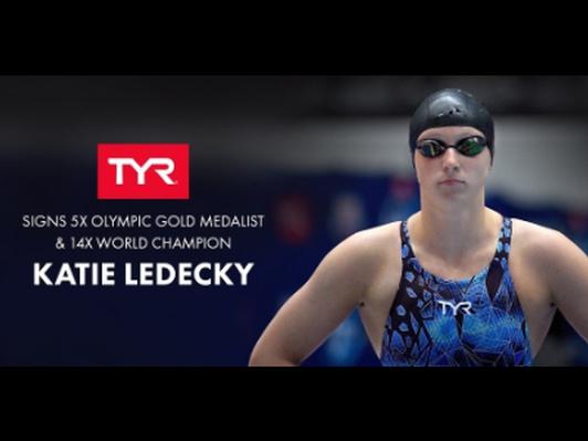 Katie Ledecky Autographed Kickboard and Swim Cap