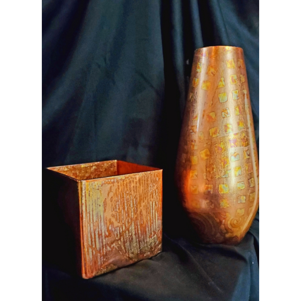 Hand Gilded Vases (pair)