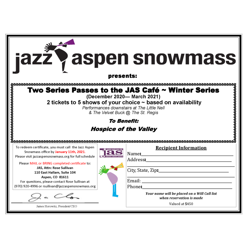 Two Series Passes to the JAS Café ~ Winter Series