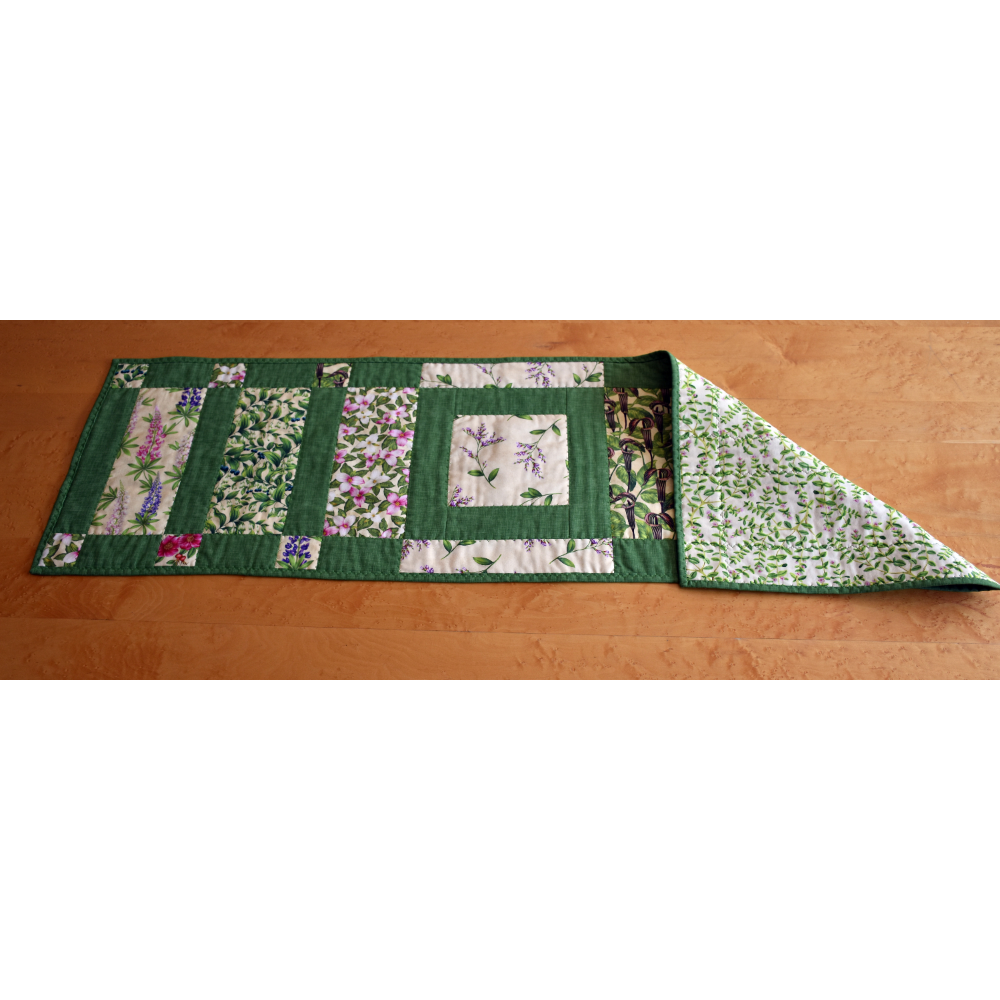 "Maine Wildflower Table Runner - 14 1/2"" wide by 46"" long"