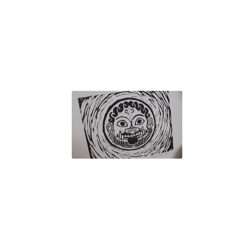 An Aimee Hinds' original Gorgon Lino Print
