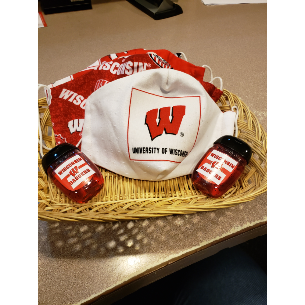 4 Wisconsin Badger Masks and 2 hand sanitizers