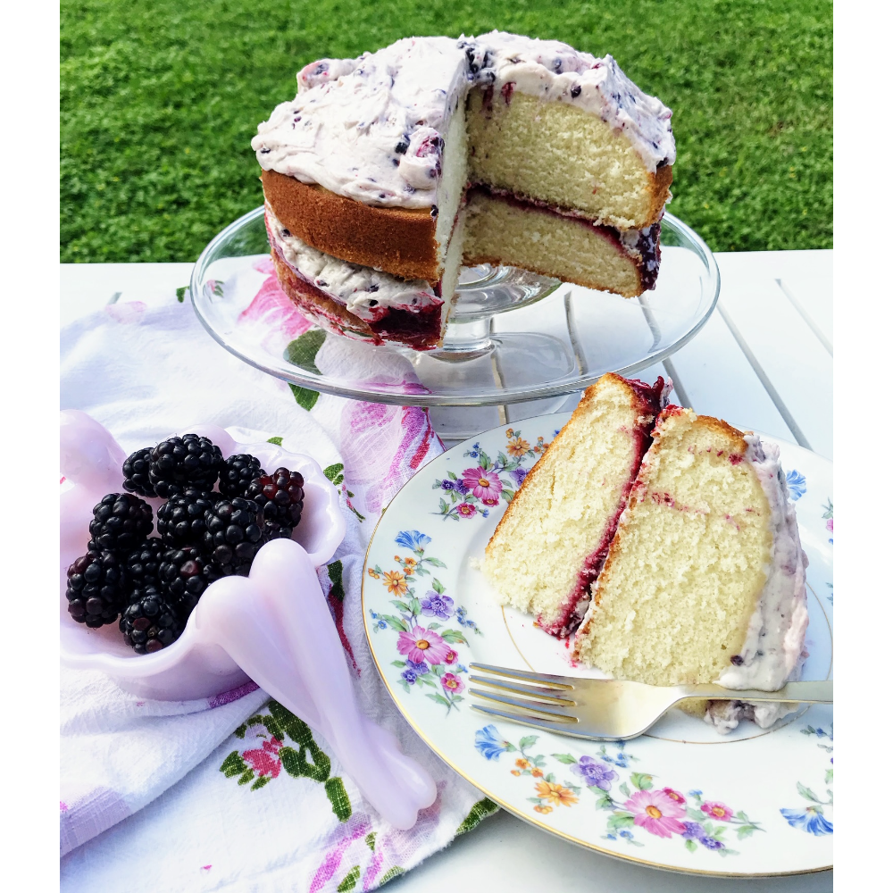 Andrea R.'s Vanilla White Cake with Blackberry Mascarpone Frosting and Blackberry-Tarragon Jam