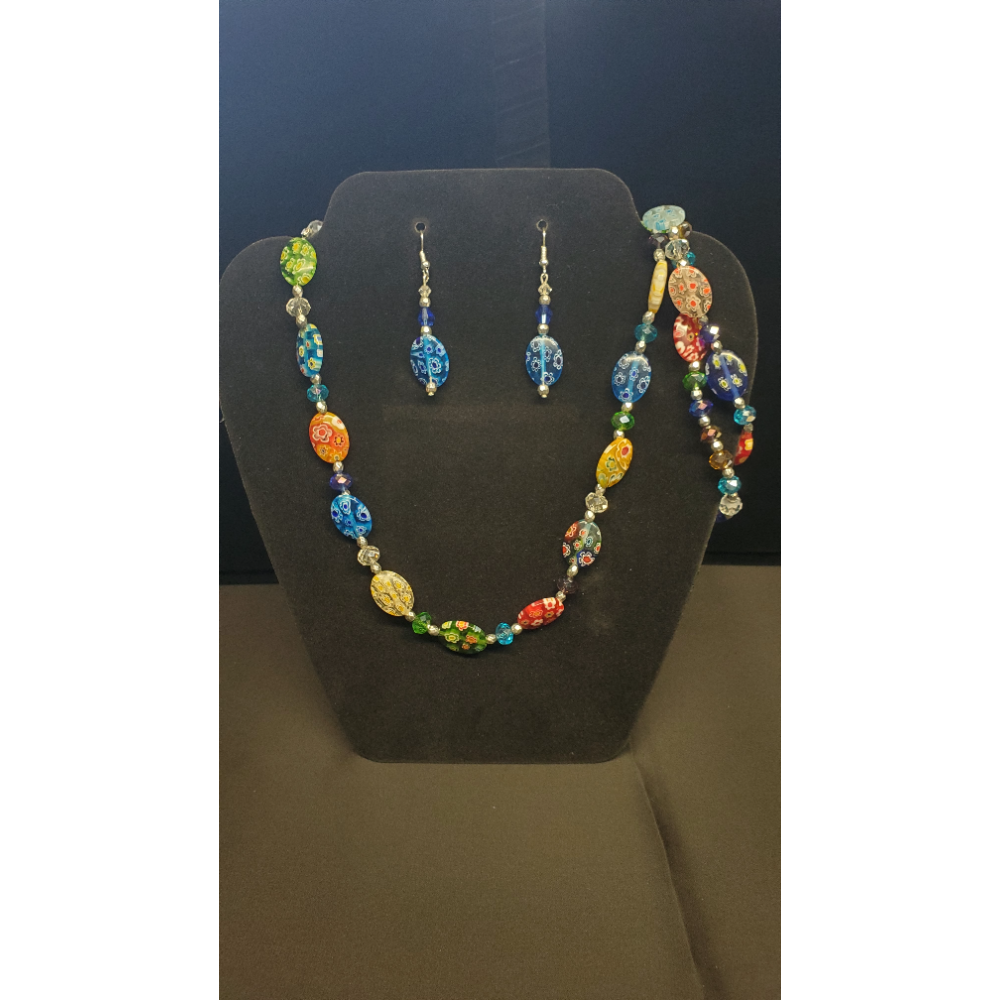"Multi Colored beaded 20"" Necklace with 2 7 1/2"" Bracelets and Matching earrings"