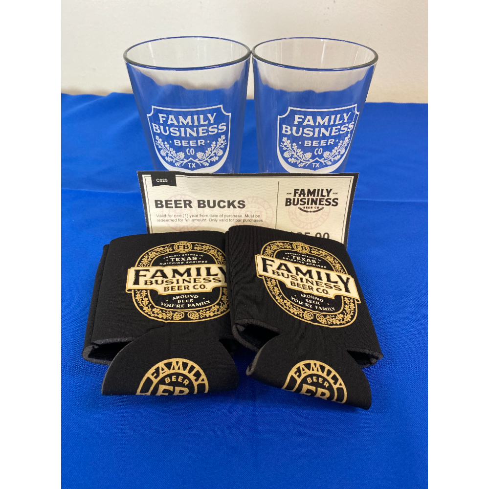 Family Business Beer Company - (2) Pint Glasses (2) Koozies & $25 Beer Bucks