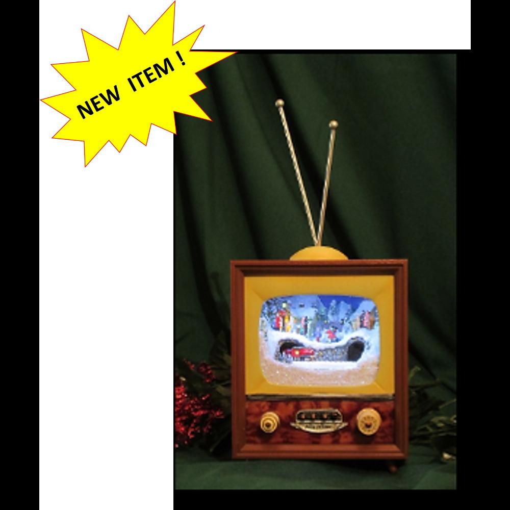 Christmas Vintage TV Music Box with Animated Winter Scene