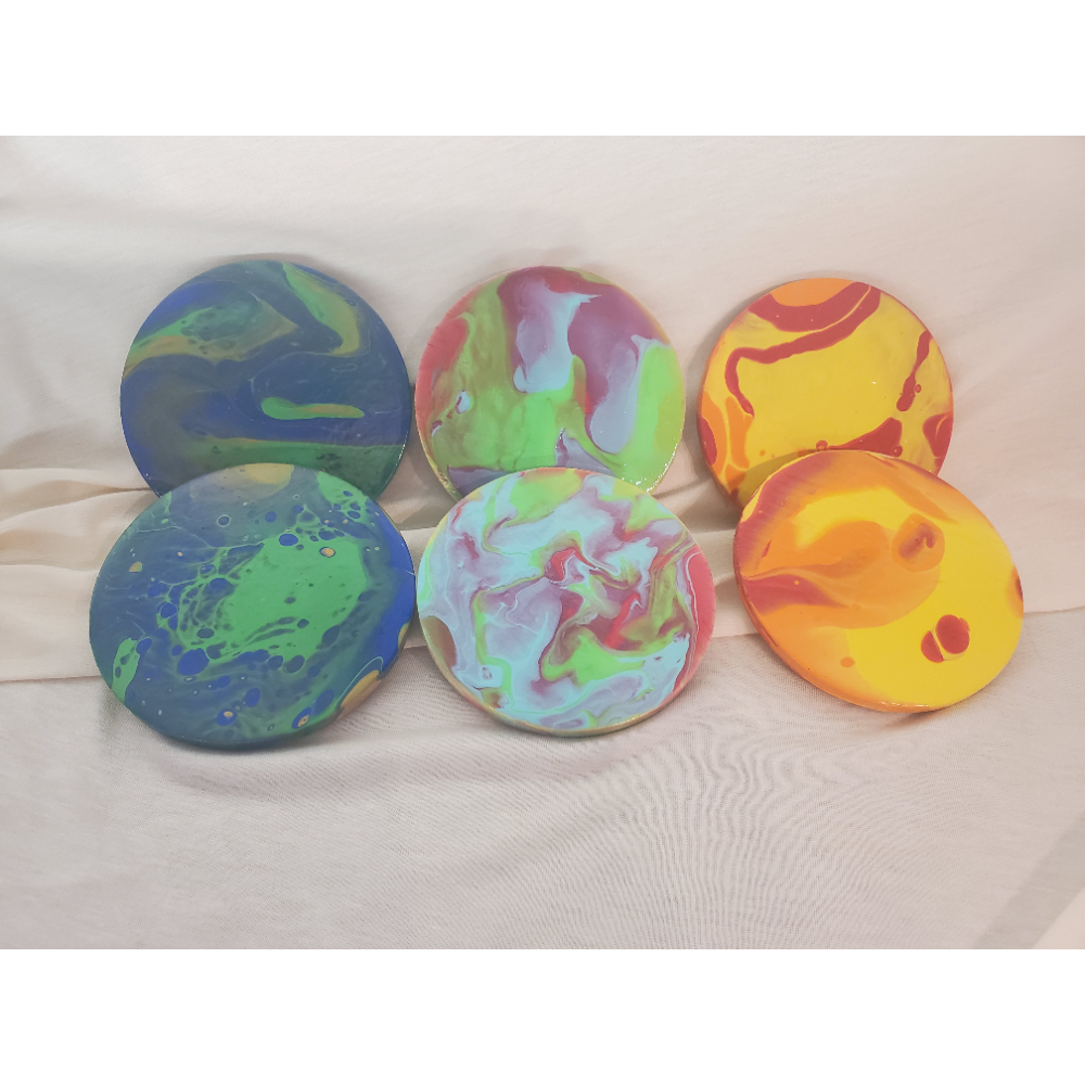 6 piece set of Paint Pour Coasters