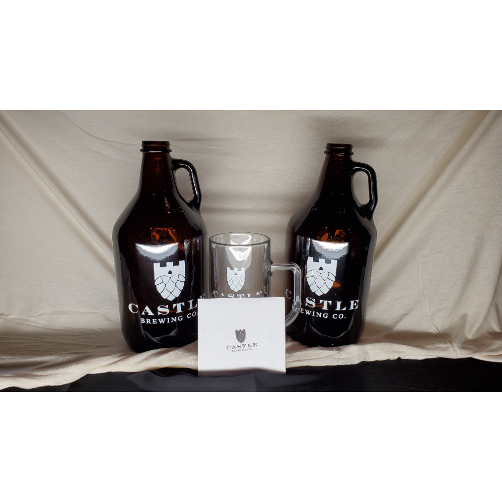 2 Growlers, Mug, and $25.00 Gift card to Castle Brewery