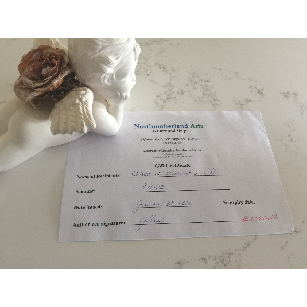 NORTHUMBERLAND ARTS GALLERY AND GIFT SHOP GIFT CERTIFICATE.  $100